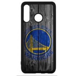 Coque noire pour Huawei P30 Lite Stephen Curry emblème Golden State Warriors Basket fond bois