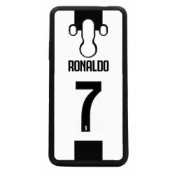 Coque noire pour Huawei P8 Lite Ronaldo CR7 Juventus Foot numéro 7 fond blanc