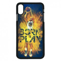 Coque noire pour iPhone XS Max Stephen Curry NBA Golden State Born to Play
