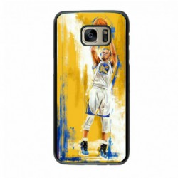Coque noire pour Samsung S7 Edge Stephen Curry Golden State Warriors Shoot Basket