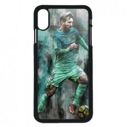 Coque noire pour iPhone XS Max Lionel Messi FC Barcelone Foot vert-rouge-jaune