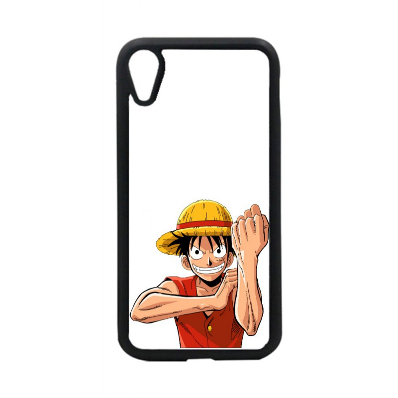 Coque noire pour iPhone XR One Piece Dessin animé Monkey D Luffy