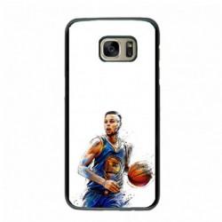 Coque noire pour Samsung S6 Edge Stephen Curry Golden State Warriors dribble Basket