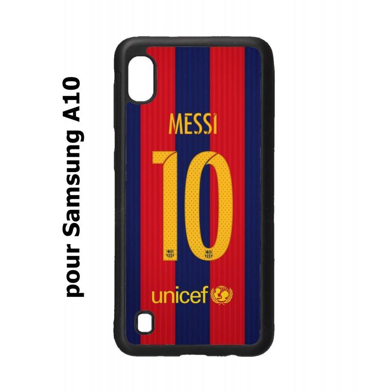 Coque noire personnalisée pour Smartphone Samsung Galaxy A10 maillot 10 Lionel Messi FC Barcelone Foot