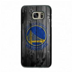 Coque noire pour Samsung S6 Edge Stephen Curry emblème Golden State Warriors Basket fond bois