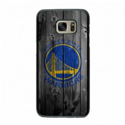 Coque noire pour Samsung S6 Edge Plus Stephen Curry emblème Golden State Warriors Basket fond bois