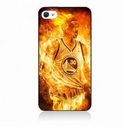 Coque noire pour IPHONE 4/4S Stephen Curry Golden State Warriors Basket - Curry en flamme