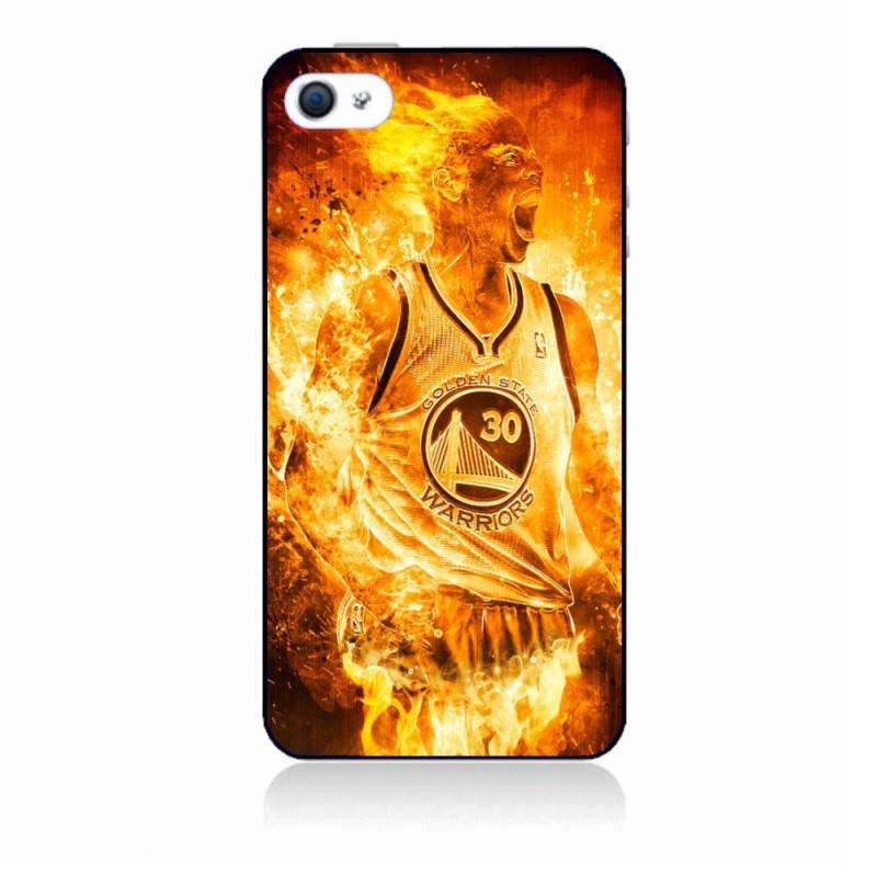 Coque noire personnalisée pour Smartphone IPHONE 5C Stephen Curry Golden State Warriors Basket - Curry en flamme