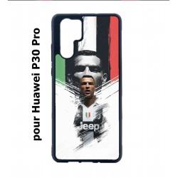 Coque noire pour Huawei P30 Pro Ronaldo CR7 Juventus Foot
