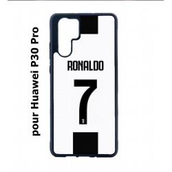 Coque noire pour Huawei P30 Pro Ronaldo CR7 Juventus Foot numéro 7 fond blanc