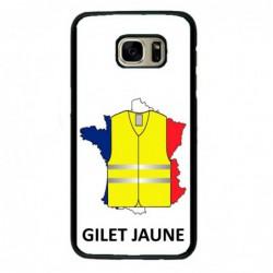 Coque noire pour Samsung S6 Edge France Gilets Jaunes - manifestations Paris