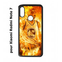 Coque noire pour Redmi Note 7 Stephen Curry Golden State Warriors Basket - Curry en flamme