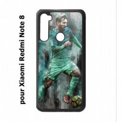 Coque noire pour Xiaomi Redmi Note 8 Lionel Messi FC Barcelone Foot vert-rouge-jaune
