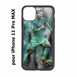 Coque noire pour Iphone 11 PRO MAX Lionel Messi FC Barcelone Foot vert-rouge-jaune