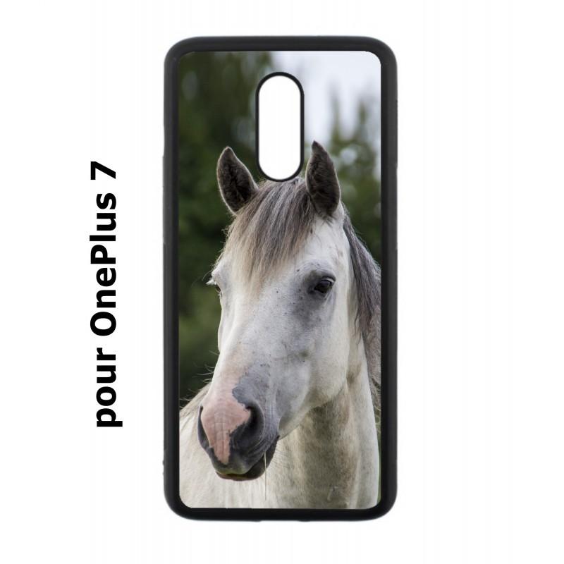 Coque noire pour OnePlus 7 Coque cheval blanc - tête de cheval