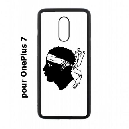 Coque noire pour OnePlus 7 Drapeau Corse Emblème - Écusson Argent à Tête de Maure
