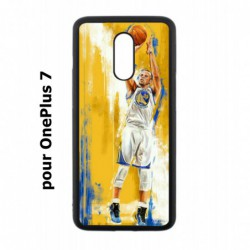 Coque noire pour OnePlus 7 Stephen Curry Golden State Warriors Shoot Basket
