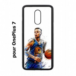 Coque noire pour OnePlus 7 Stephen Curry Golden State Warriors dribble Basket