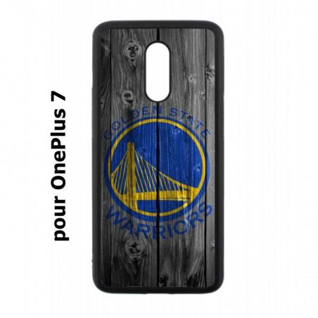 Coque noire pour OnePlus 7 Stephen Curry emblème Golden State Warriors Basket fond bois