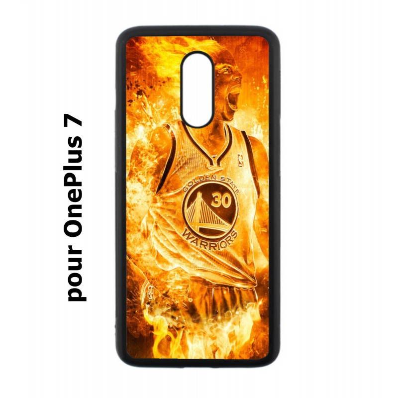 Coque noire pour OnePlus 7 Stephen Curry Golden State Warriors Basket - Curry en flamme