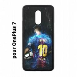 Coque noire pour OnePlus 7 Lionel Messi FC Barcelone Foot