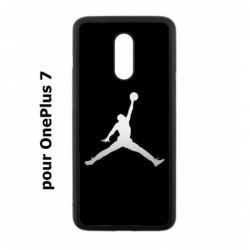Coque noire pour OnePlus 7 Michael Jordan Fond Noir Chicago Bulls