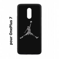 Coque noire pour OnePlus 7 Michael Jordan 23 shoot Chicago Bulls Basket