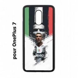 Coque noire pour OnePlus 7 Ronaldo CR7 Juventus Foot
