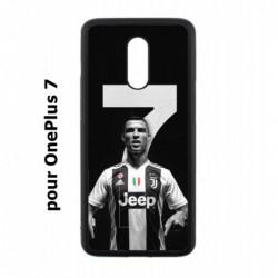Coque noire pour OnePlus 7 Ronaldo CR7 Juventus Foot numéro 7