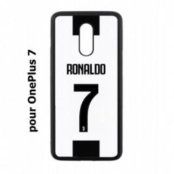 Coque noire pour OnePlus 7 Ronaldo CR7 Juventus Foot numéro 7 fond blanc
