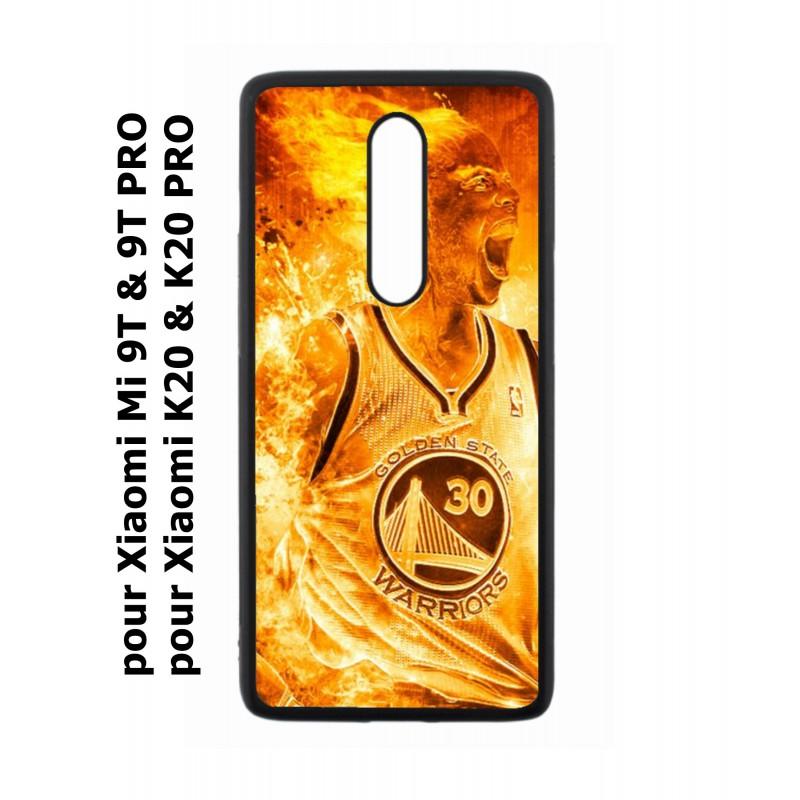 Coque noire pour Xiaomi Mi 9T - Mi 9T PRO - Redmi K20 - K20 PRO Stephen Curry Golden State Warriors Basket - Curry en flamme