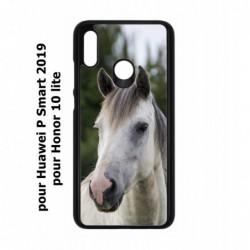 Coque noire pour Huawei P Smart 2019 Coque cheval blanc - tête de cheval