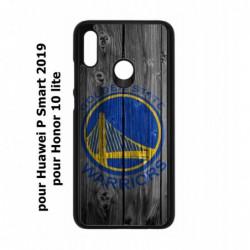 Coque noire pour Huawei P Smart 2019 Stephen Curry emblème Golden State Warriors Basket fond bois