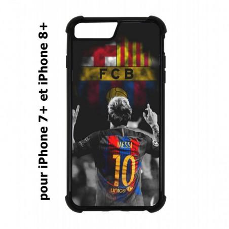 Coque noire pour IPHONE 7 PLUS/8 PLUS Lionel Messi FC Barcelone Foot