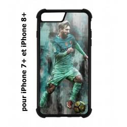 Coque noire pour IPHONE 7 PLUS/8 PLUS Lionel Messi FC Barcelone Foot vert-rouge-jaune