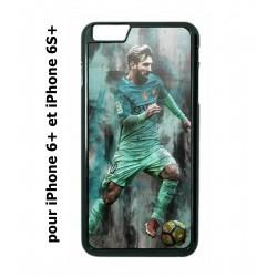 Coque noire pour IPHONE 6 PLUS/6S PLUS Lionel Messi FC Barcelone Foot vert-rouge-jaune