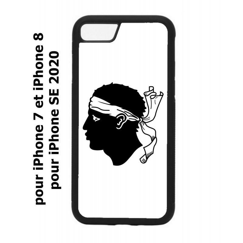 Coque noire personnalisée pour Smartphone iPhone 7/8 et iPhone SE 2020 Drapeau Corse Emblème - Écusson Argent à Tête de Maure