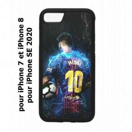 Coque noire pour iPhone 7/8 et iPhone SE 2020 Lionel Messi FC Barcelone Foot