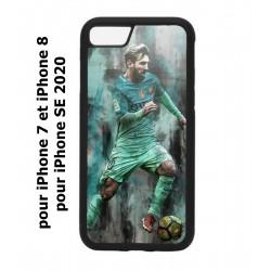 Coque noire pour iPhone 7/8 et iPhone SE 2020 Lionel Messi FC Barcelone Foot vert-rouge-jaune
