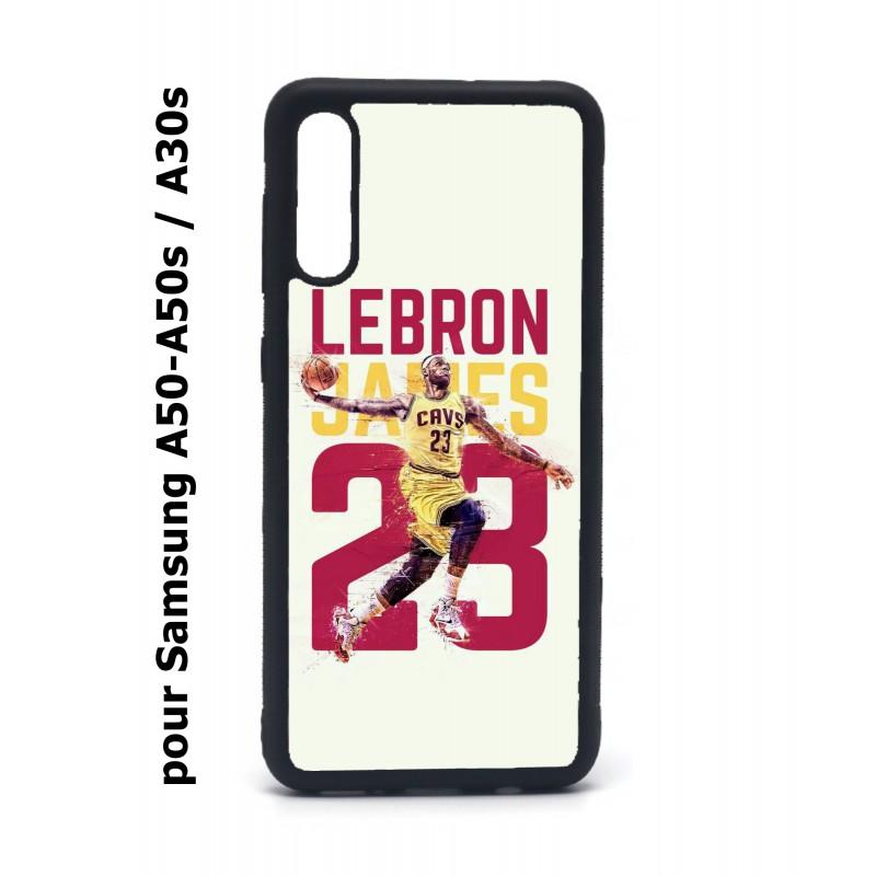 Coque noire pour Samsung Galaxy A50 A50S et A30S star Basket Lebron James Cavaliers de Cleveland 23