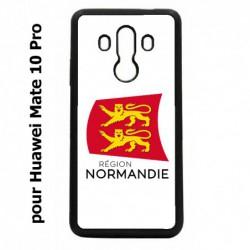 Coque noire pour Huawei Mate 10 Pro Logo Normandie - Écusson Normandie - 2 léopards