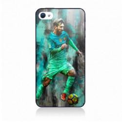 Coque noire pour IPHONE 4/4S Lionel Messi FC Barcelone Foot vert-rouge-jaune