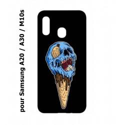 Coque noire pour Samsung Galaxy A20 / A30 / M10S Ice Skull - Crâne Glace - Cône Crâne - skull art