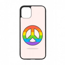 Coque noire pour IPOD TOUCH 4 Peace and Love LGBT - couleur arc en ciel