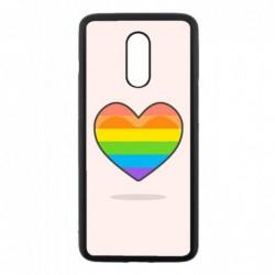 Coque noire pour OnePlus 7 Rainbow hearth LGBT - couleur arc en ciel Coeur LGBT