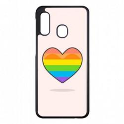 Coque noire pour Samsung A520/A5 2017 Rainbow hearth LGBT - couleur arc en ciel Coeur LGBT