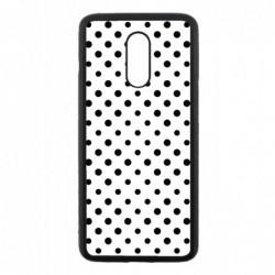 Coque noire pour OnePlus 7 motif géométrique pattern noir et blanc - ronds noirs