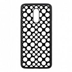 Coque noire pour OnePlus 7 motif géométrique pattern noir et blanc - ronds blancs