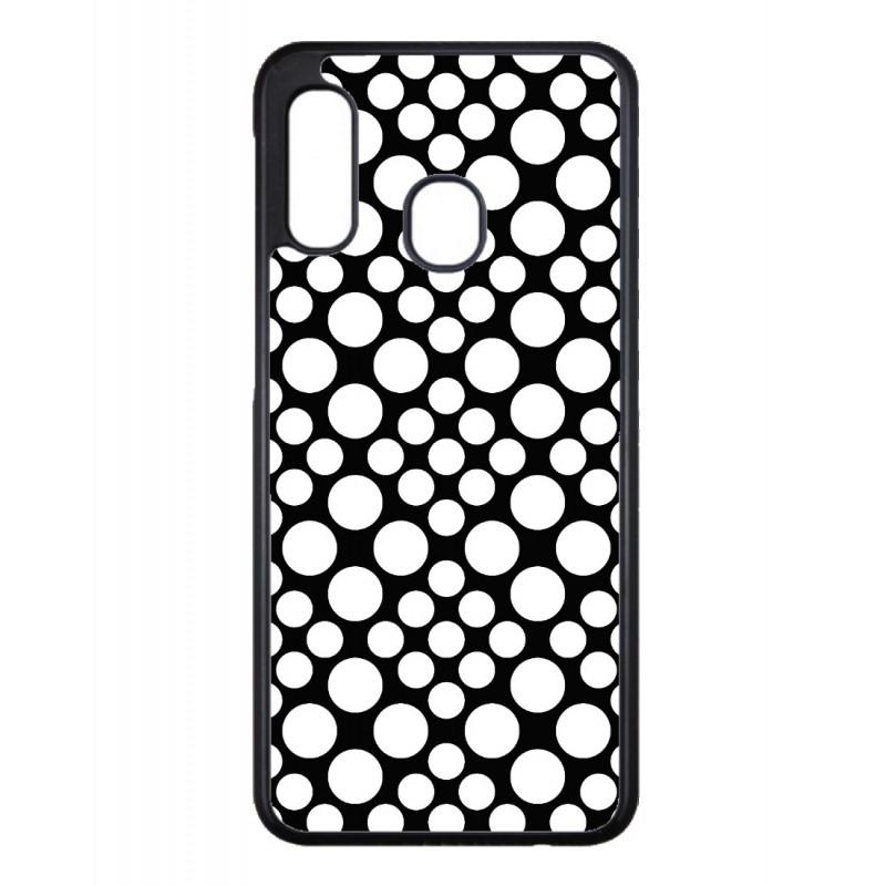 Coque noire pour Samsung Galaxy A10s motif géométrique pattern noir et blanc - ronds blancs