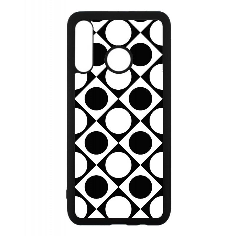 Coque noire pour Huawei P9 motif géométrique pattern noir et blanc - ronds et carrés